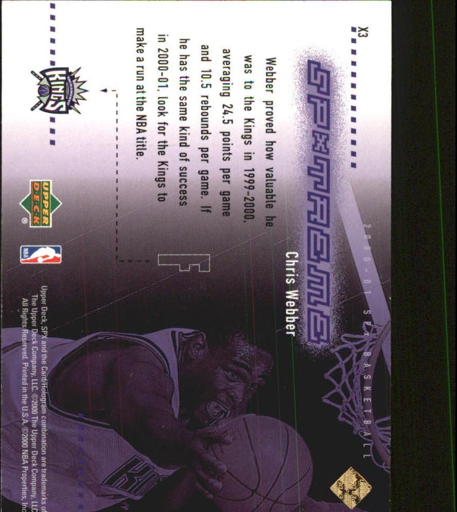 2000-01 SPx Spxtreme #X3 Chris Webber back image
