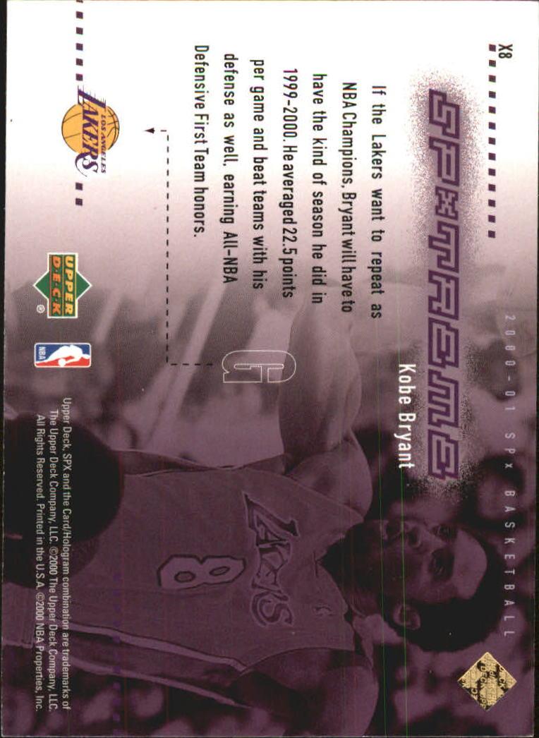 2000-01 SPx Spxtreme #X8 Kobe Bryant back image