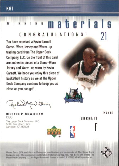 2000-01 SPx Winning Materials #KG1 Kevin Garnett JSY/WM back image