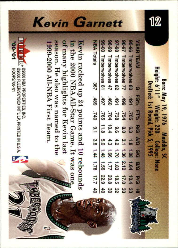 2000-01 Hoops Hot Prospects #12 Kevin Garnett back image