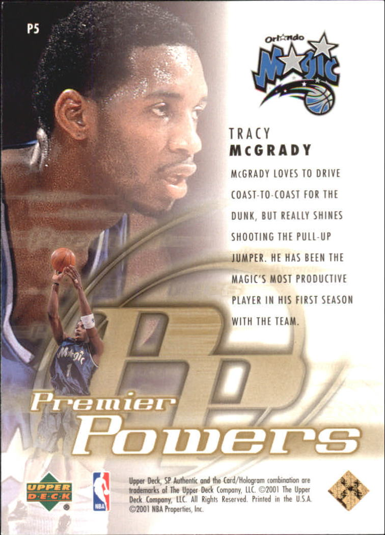 2000-01 SP Authentic Premier Powers #P5 Tracy McGrady back image