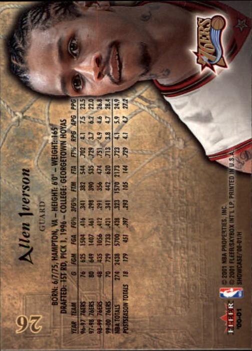 2000-01 Fleer Showcase #26 Allen Iverson back image