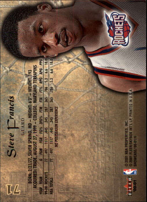 2000-01 Fleer Showcase #71 Steve Francis back image