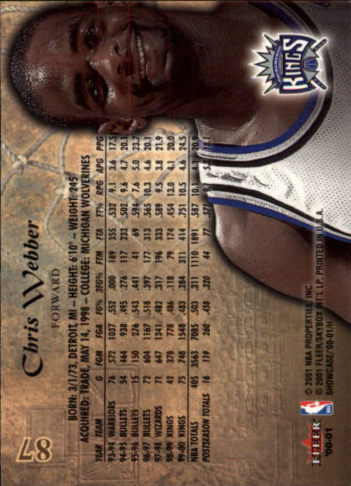 2000-01 Fleer Showcase #87 Chris Webber back image