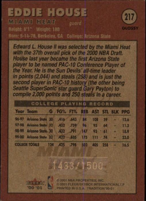 2000-01 Fleer Glossy #217 Eddie House RC back image