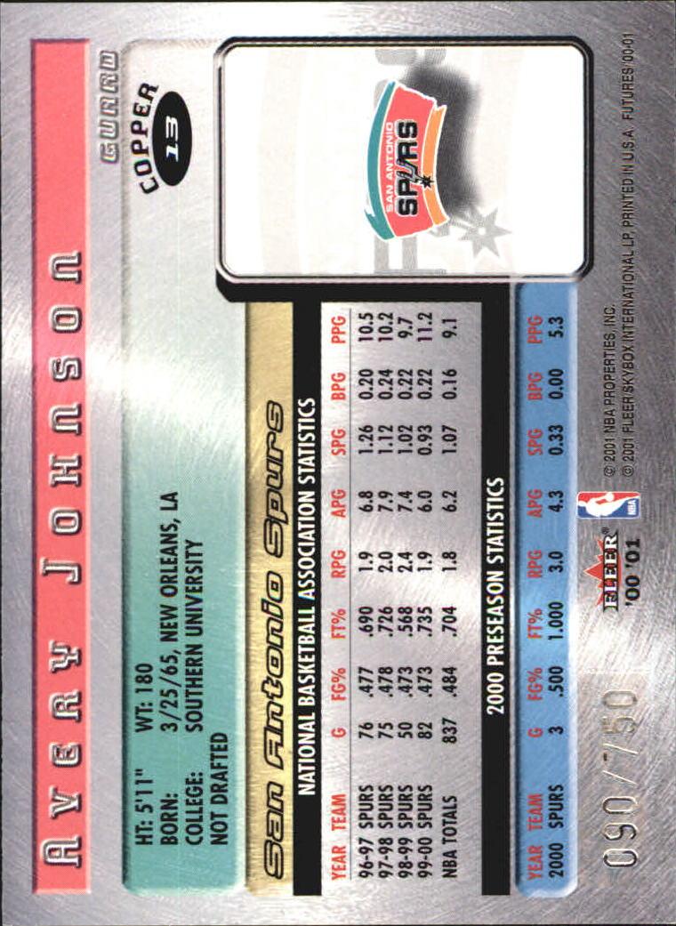 2000-01 Fleer Futures Copper #13 Avery Johnson back image
