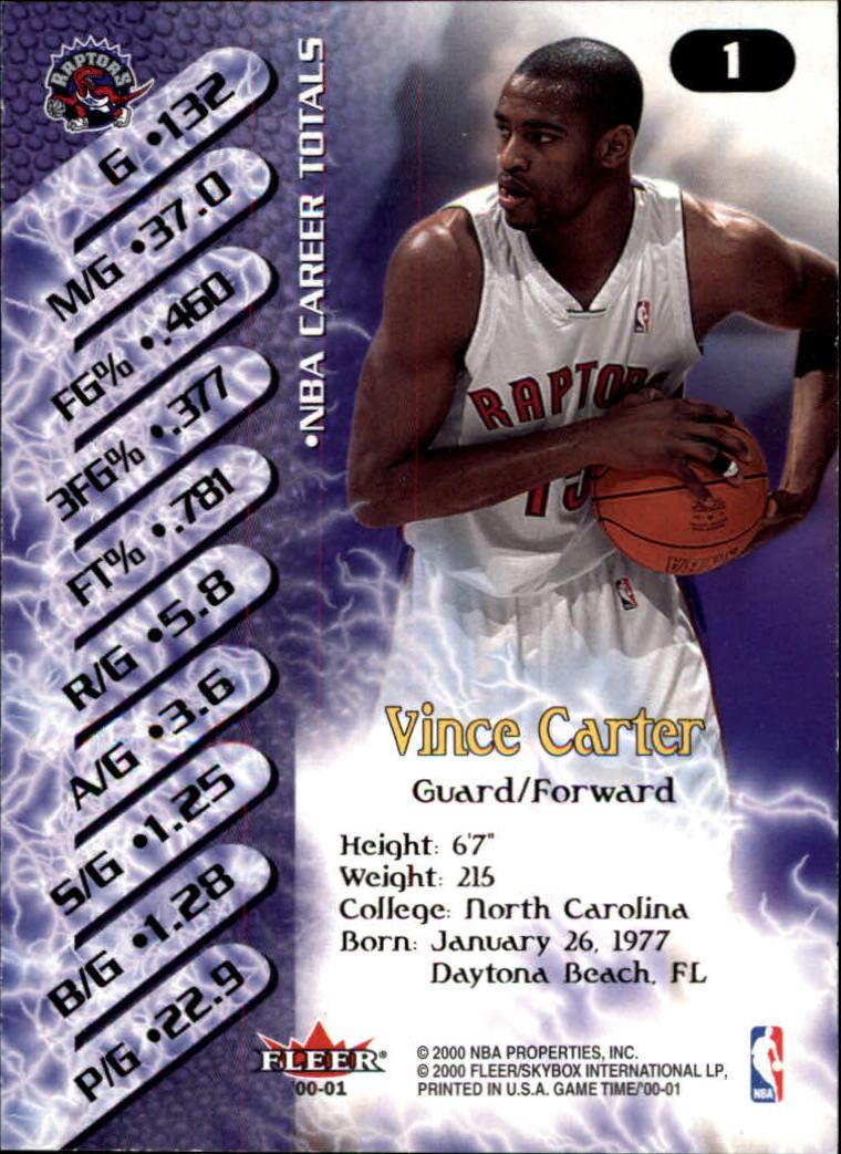 2000-01 Fleer Game Time #1 Vince Carter back image