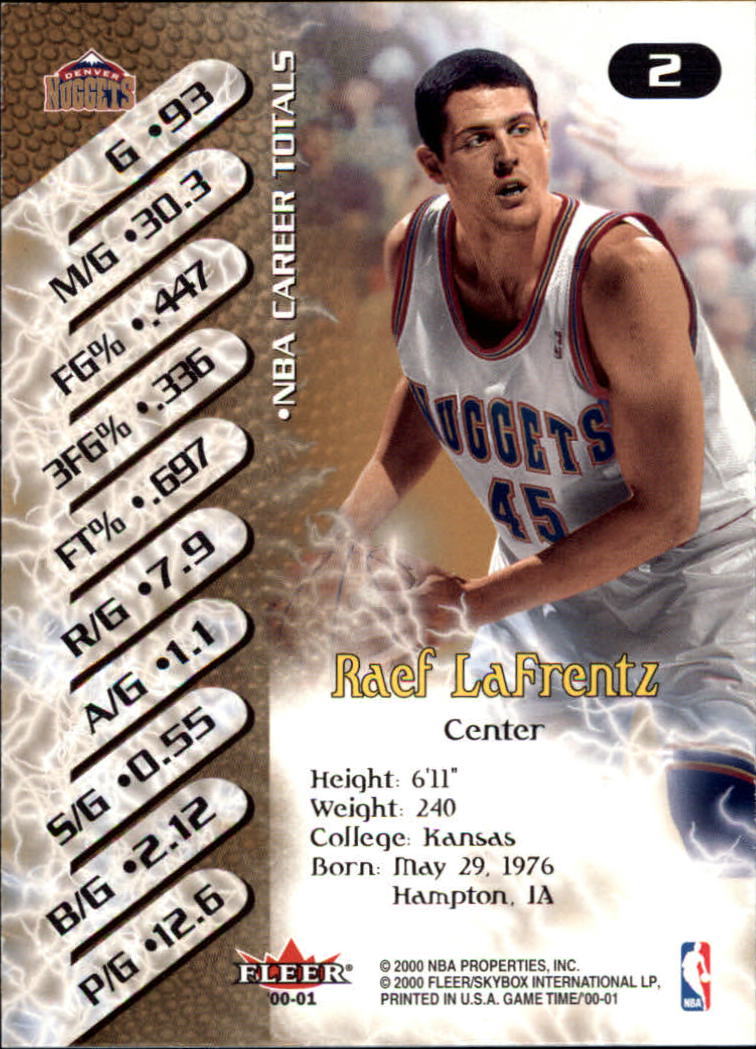 2000-01 Fleer Game Time #2 Raef LaFrentz back image