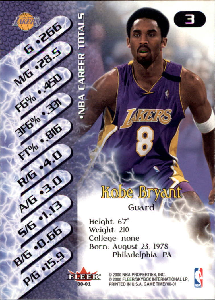 2000-01 Fleer Game Time #3 Kobe Bryant back image