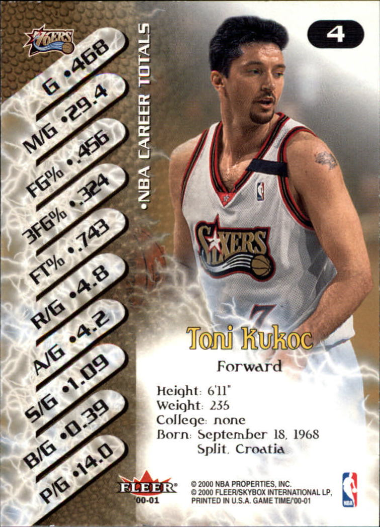 2000-01 Fleer Game Time #4 Toni Kukoc back image