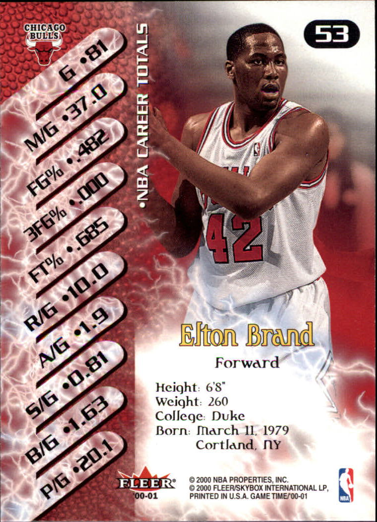 2000-01 Fleer Game Time #53 Elton Brand back image