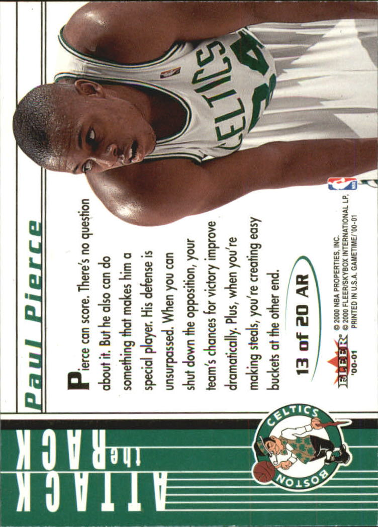 2000-01 Fleer Game Time Attack the Rack #AR13 Paul Pierce back image