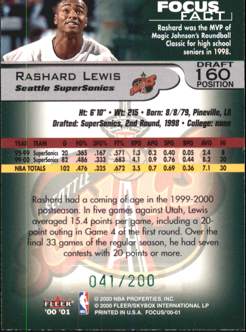 2000-01 Fleer Focus Draft Position #160 Rashard Lewis/200 back image