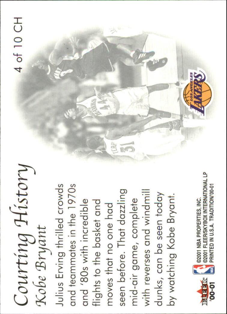 2000-01 Fleer Courting History #CH4 Kobe Bryant back image