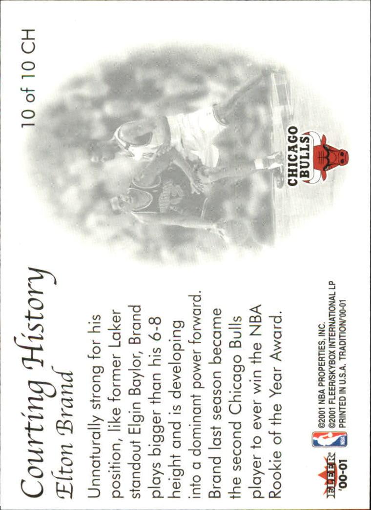 2000-01 Fleer Courting History #CH10 Elton Brand back image