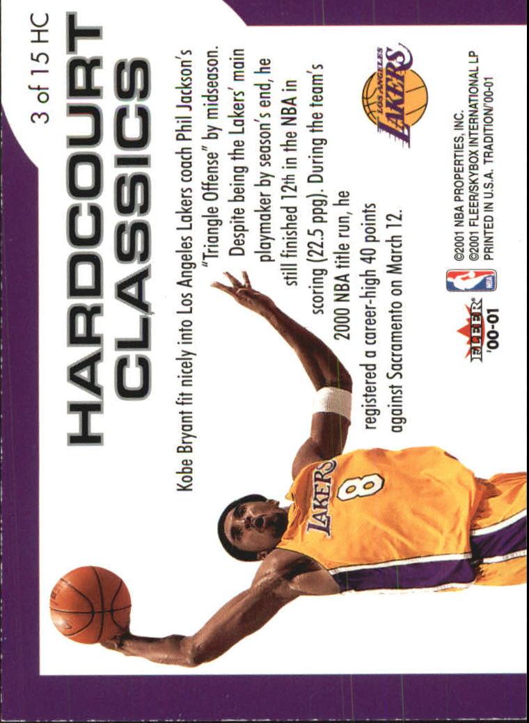 2000-01 Fleer Hardcourt Classics #HC3 Kobe Bryant back image