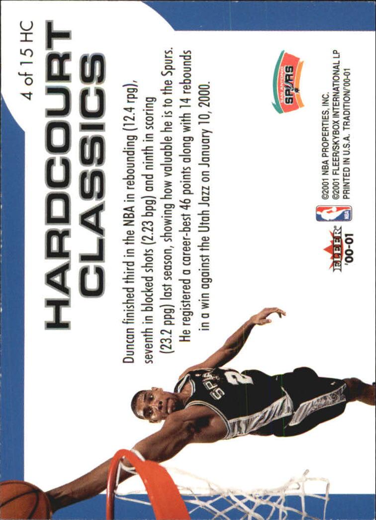 2000-01 Fleer Hardcourt Classics #HC4 Tim Duncan back image