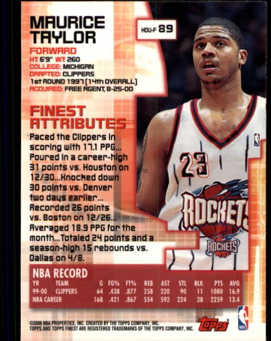 2000-01 Finest #89 Maurice Taylor back image