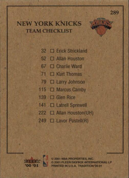 2000-01 Fleer #289 Latrell Sprewell/Glen Rice/Marcus Camby/Larry Johnson/Allan Houston back image