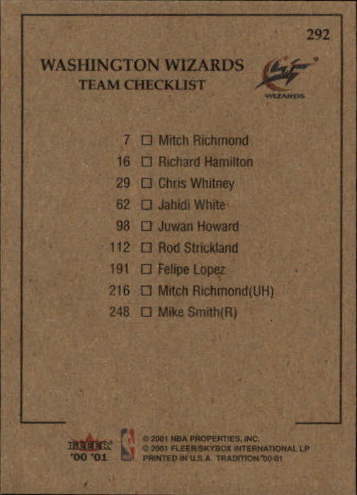 2000-01 Fleer #292 Jahidi White/Mike Smith/Mitch Richmond/Juwan Howard/Rod Strickland back image
