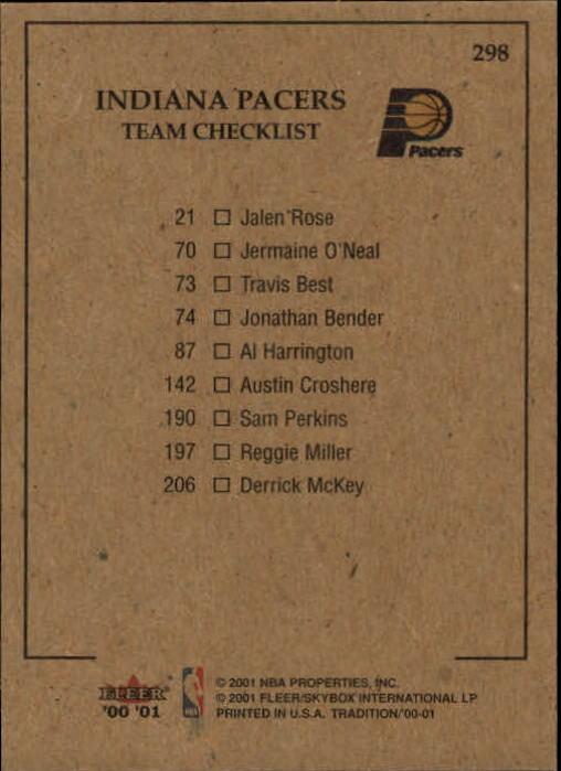 2000-01 Fleer #298 Jermaine O'Neal/Jalen Rose/Austin Croshere/Jonathan Bender/Reggie Miller back image