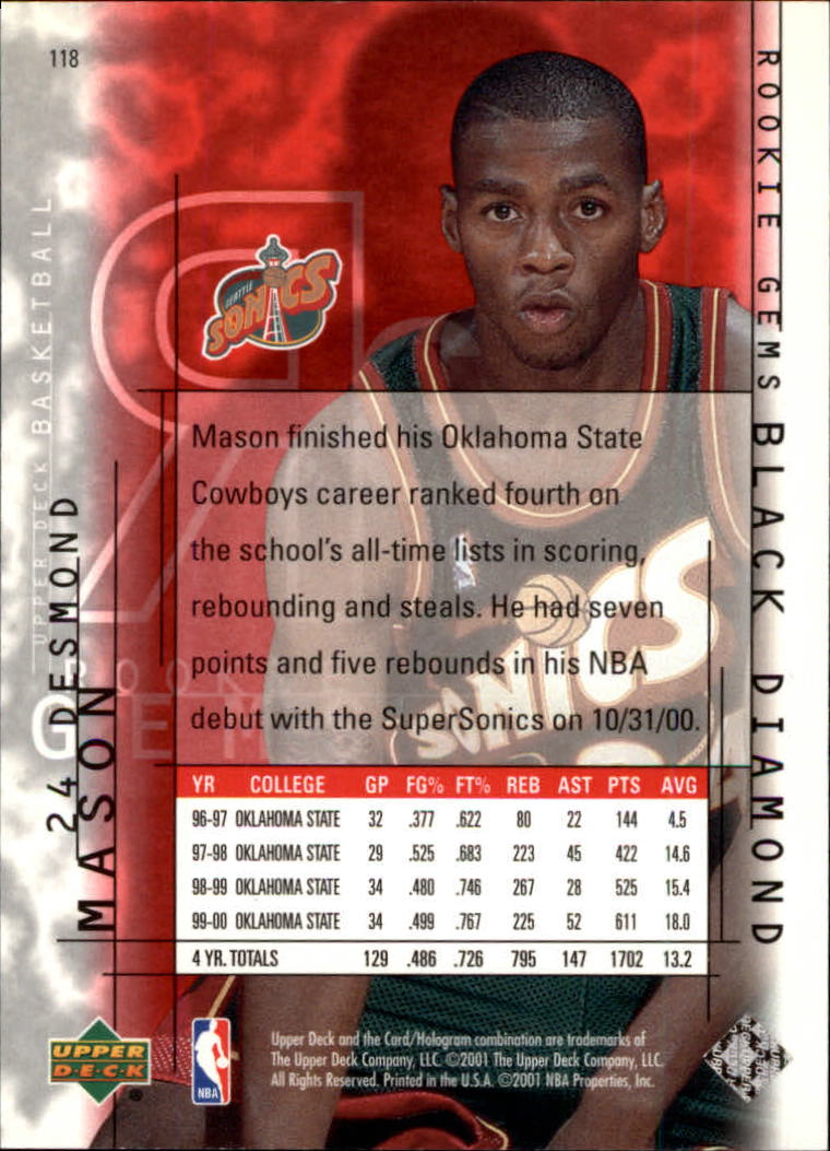 2000-01 Black Diamond #118 Desmond Mason RC back image