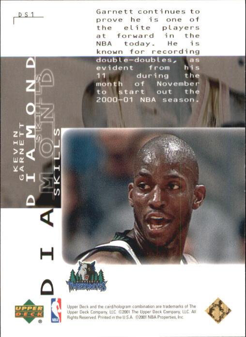2000-01 Black Diamond Skills #DS1 Kevin Garnett back image