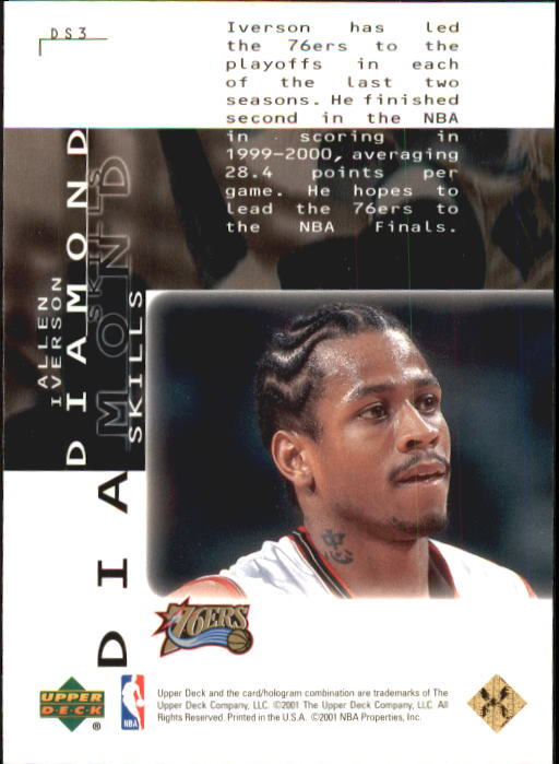 2000-01 Black Diamond Skills #DS3 Allen Iverson back image