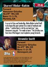 2000-01 Bowman's Best Franchise Favorites #FFJ6 Shareef Abdur-Rahim/Stromile Swift JSY back image
