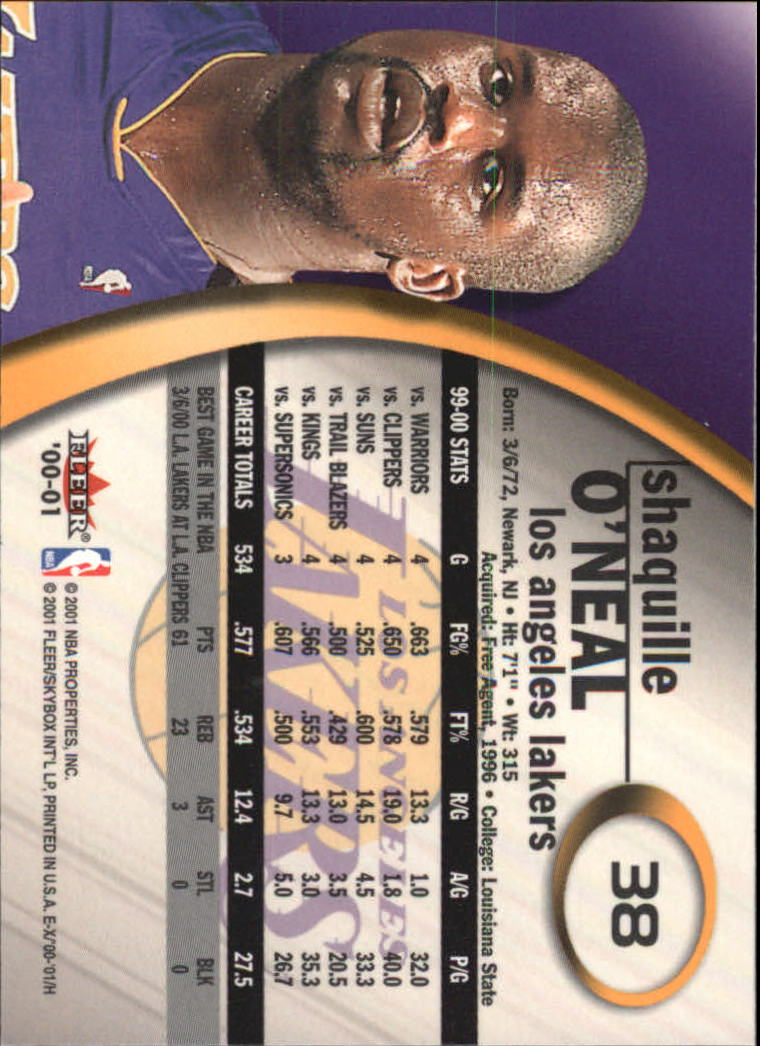 2000-01 E-X #38 Shaquille O'Neal back image
