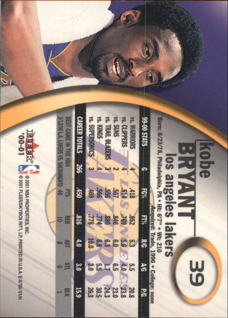 2000-01 E-X #39 Kobe Bryant back image