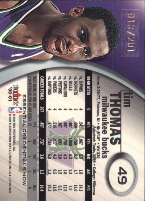 2000-01 E-X Essential Credentials #49 Tim Thomas back image