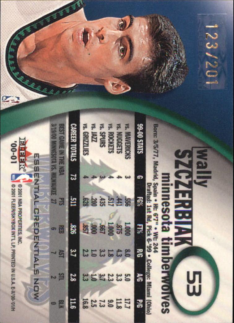 2000-01 E-X Essential Credentials #53 Wally Szczerbiak back image
