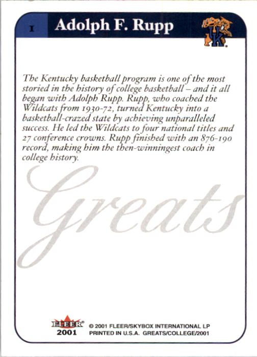 2001 Greats of the Game #1 Adolph Rupp back image
