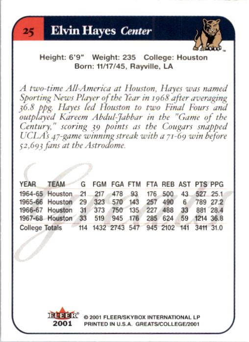 2001 Greats of the Game #25 Elvin Hayes back image