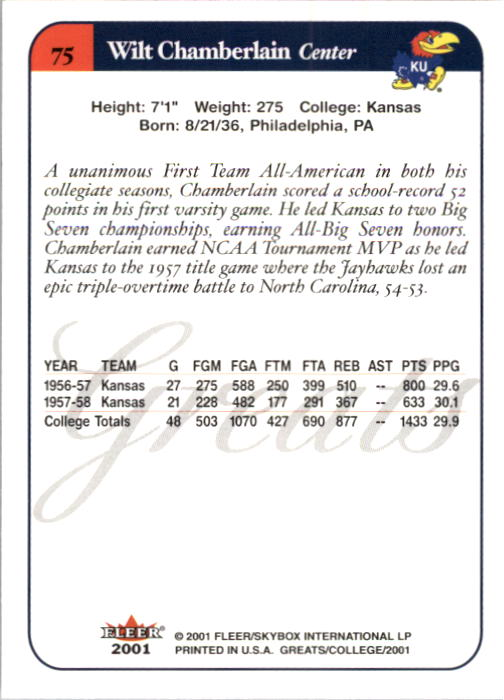2001 Greats of the Game #75 Wilt Chamberlain back image