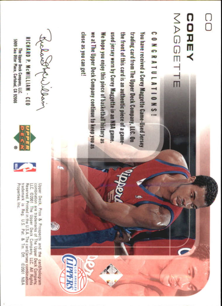 2001-02 Upper Deck Pros and Prospects Game Jerseys #CO Corey Maggette back image