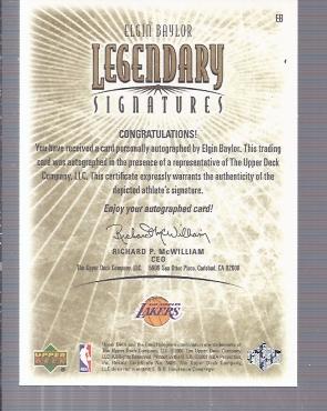 2001-02 Upper Deck Legends Legendary Signatures #EB Elgin Baylor back image