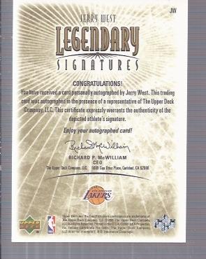 2001-02 Upper Deck Legends Legendary Signatures #JW Jerry West back image