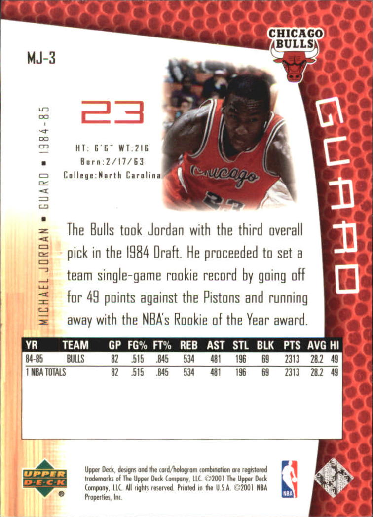 2001-02 Upper Deck MJ's Back #MJ3 Michael Jordan/Pro Statistics back image