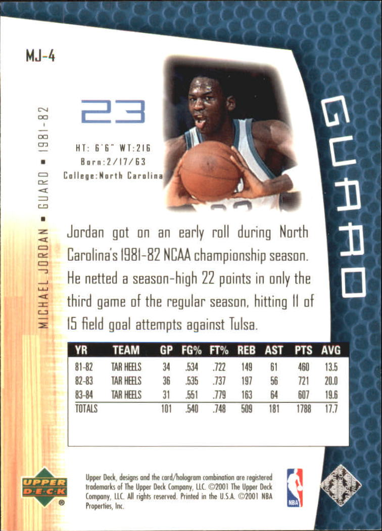 2001-02 Upper Deck MJ's Back #MJ4 Michael Jordan/Rookie Statistics back image