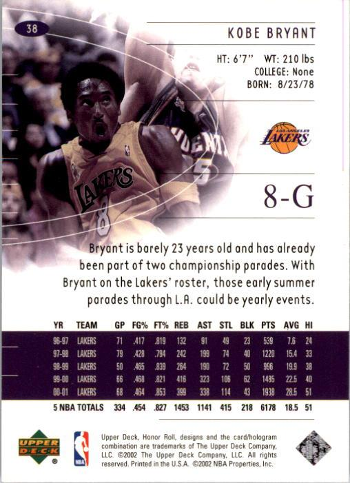 2001-02 Upper Deck Honor Roll #38 Kobe Bryant back image