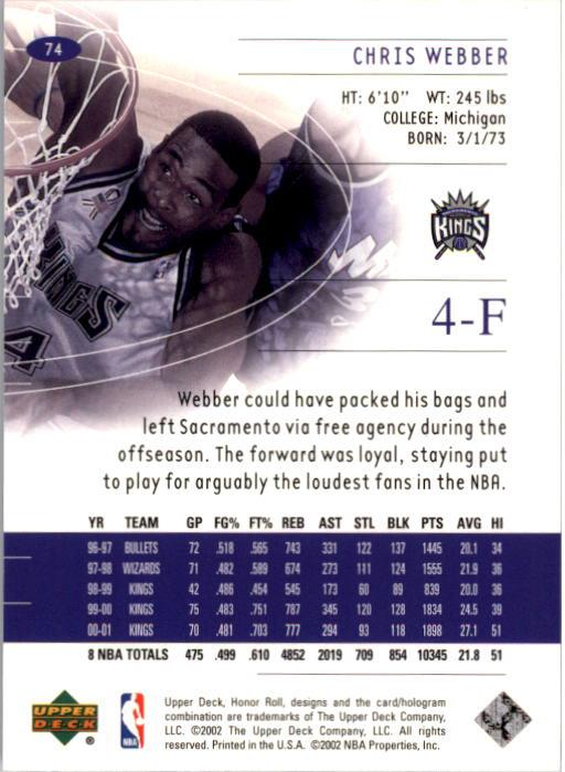 2001-02 Upper Deck Honor Roll #74 Chris Webber back image