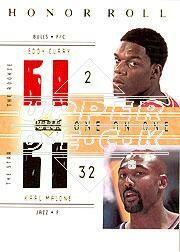 2001-02 Upper Deck Honor Roll #123 Eddy Curry JSY RC/Karl Malone JSY