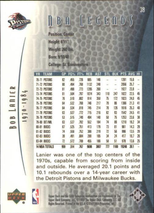 2001-02 Upper Deck Legends #38 Bob Lanier back image