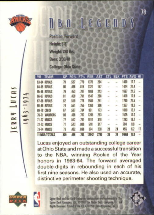 2001-02 Upper Deck Legends #78 Jerry Lucas back image