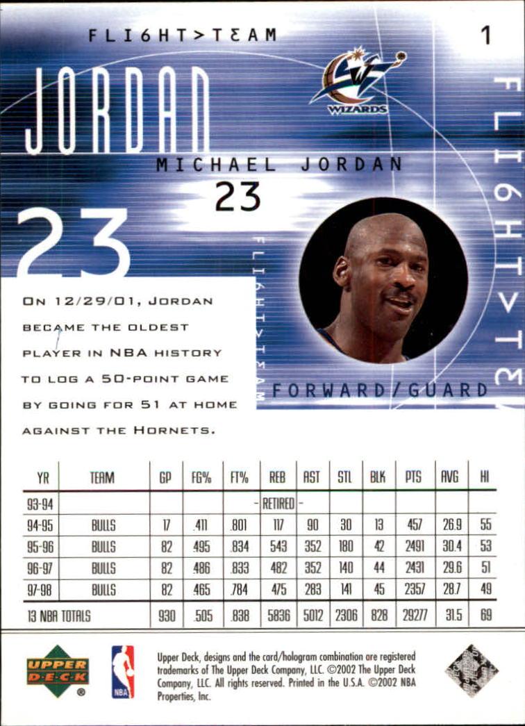 2001-02 Upper Deck Flight Team #1 Michael Jordan back image