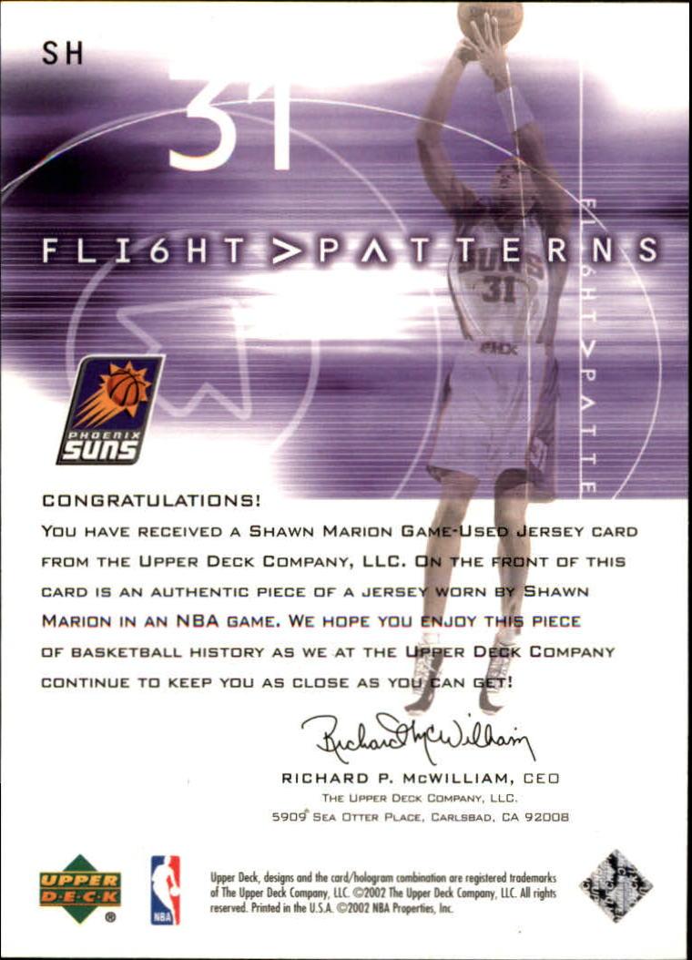 2001-02 Upper Deck Flight Team Flight Patterns #SH Shawn Marion back image