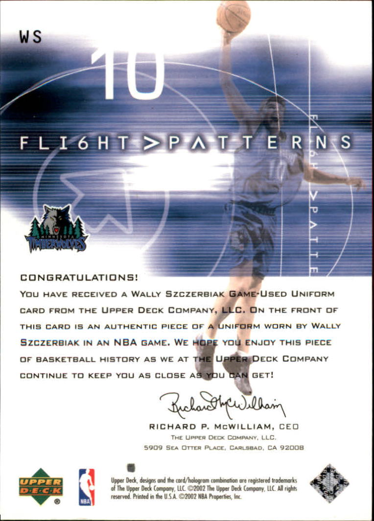 2001-02 Upper Deck Flight Team Flight Patterns #WS Wally Szczerbiak back image