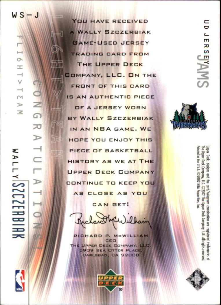 2001-02 Upper Deck Flight Team UD Jersey Jams #WSJ Wally Szczerbiak back image